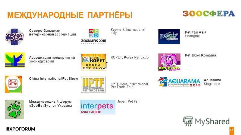 4 19 Северо-Западная ветеринарная ассоциация Ассоциация предприятий зооиндустрии China International Pet Show Международный форум «Зоо ВетЭкспо» Украина МЕЖДУНАРОДНЫЕ ПАРТНЁРЫ Zoomark International Italy KOPET, Korea Pet Expo IIPTF India Internationa