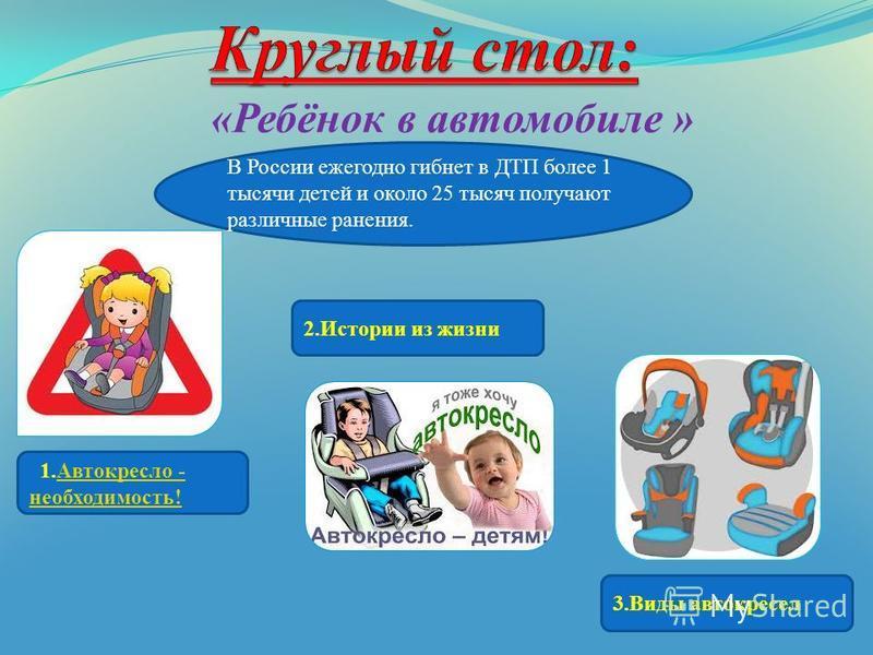 «Ребёнок в автомобиле » В России ежегодно гибнет в ДТП более 1 тысячи детей и около 25 тысяч получают различные ранения. 1. Автокресло - необходимость!Автокресло - необходимость! 2. Истории из жизни 3. Виды автокресел