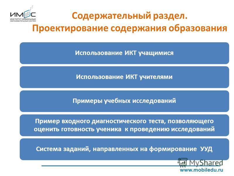 www.mobiledu.ru Использование ИКТ учащимися Примеры учебных исследований Пример входного диагностического теста, позволяющего оценить готовность ученика к проведению исследований Система заданий, направленных на формирование УУДИспользование ИКТ учит
