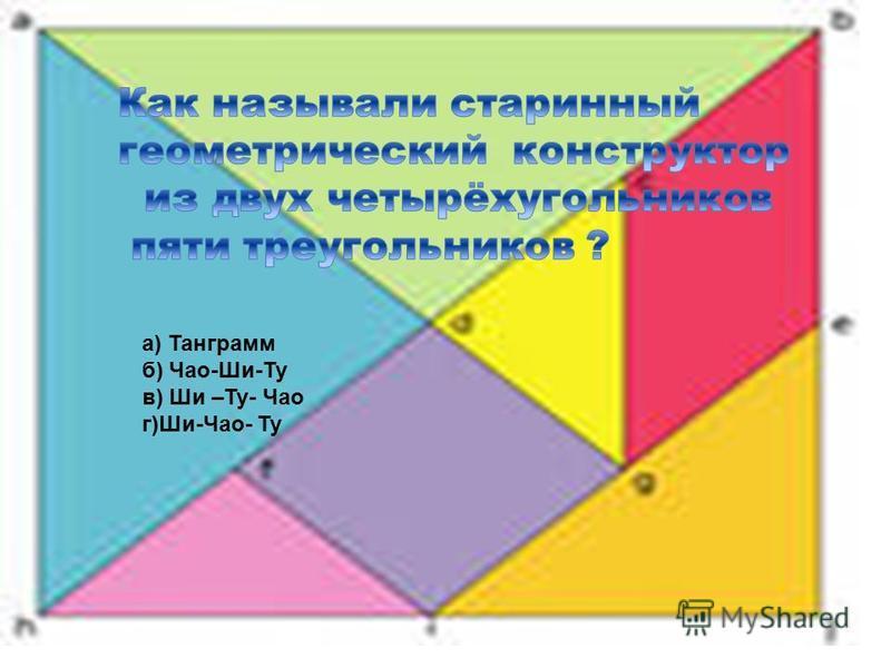 а) Танграмм б) Чао-Ши-Ту в) Ши –Ту- Чао г)Ши-Чао- Ту