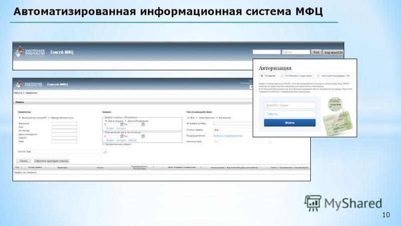 10 Автоматизированная информационная система МФЦ