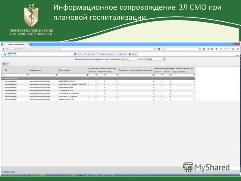 Информационное сопровождение ЗЛ СМО при плановой госпитализации