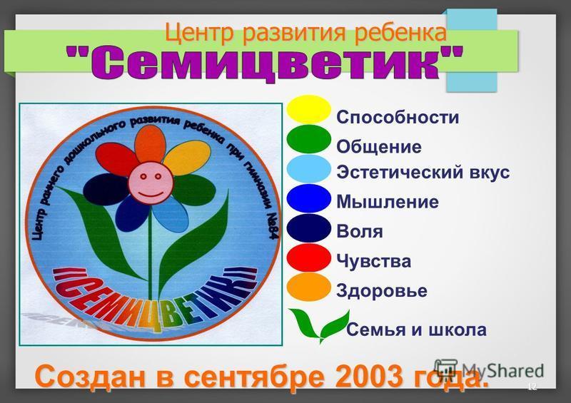12 Центр развития ребенка Чувства Общение Способности Эстетический вкус Мышление Воля Здоровье Семья и школа Создан в сентябре 2003 года.