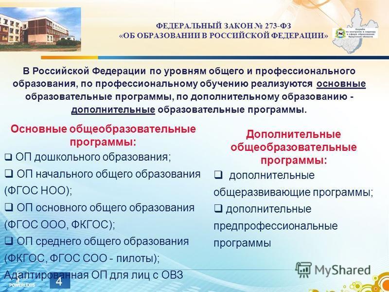 В Российской Федерации по уровням общего и профессионального образования, по профессиональному обучению реализуются основные образовательные программы, по дополнительному образованию - дополнительные образовательные программы. Основные общеобразовате