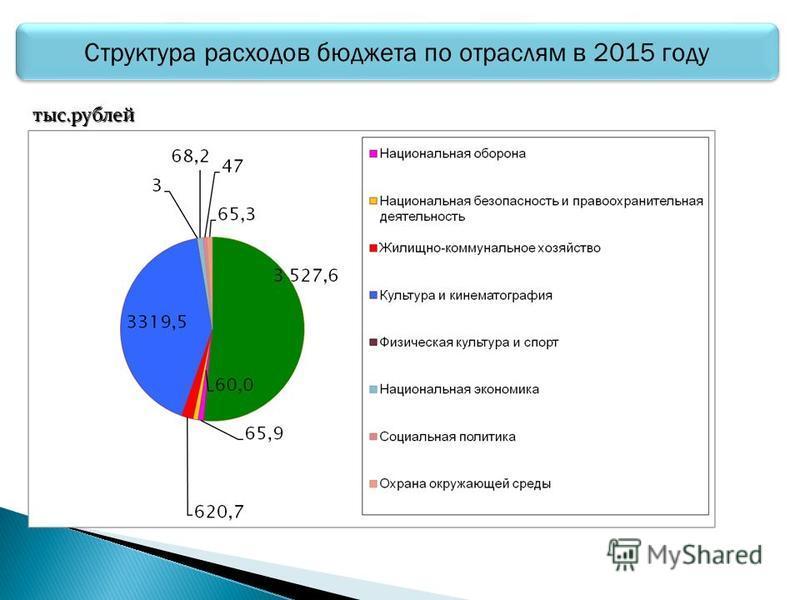 Структура расходов бюджета по отраслям в 2015 году тыс.рублей
