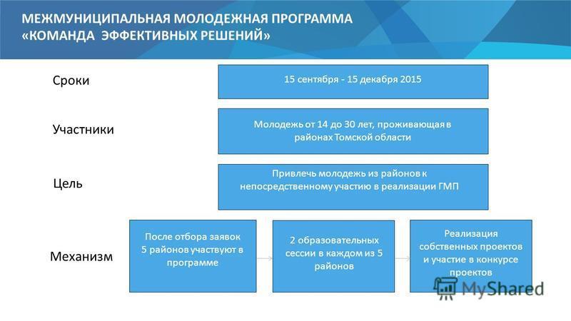 МЕЖМУНИЦИПАЛЬНАЯ МОЛОДЕЖНАЯ ПРОГРАММА «КОМАНДА ЭФФЕКТИВНЫХ РЕШЕНИЙ» Сроки 15 сентября - 15 декабря 2015 Участники Молодежь от 14 до 30 лет, проживающая в районах Томской области Цель Привлечь молодежь из районов к непосредственному участию в реализац