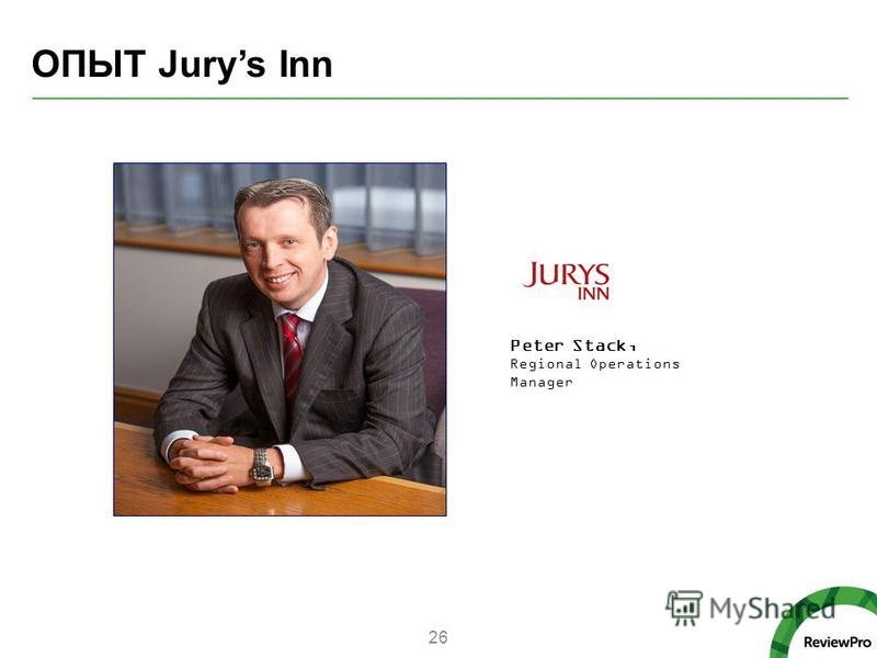 ОПЫТ Jurys Inn 26 Peter Stack, Regional Operations Manager