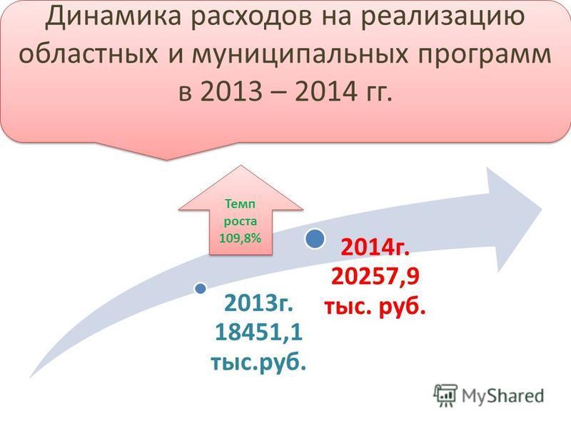2013 г. 18451,1 тыс.руб. 2014 г. 20257,9 тыс. руб. Динамика расходов на реализацию областных и муниципальных программ в 2013 – 2014 гг. Динамика расходов на реализацию областных и муниципальных программ в 2013 – 2014 гг. Темп роста 109,8%