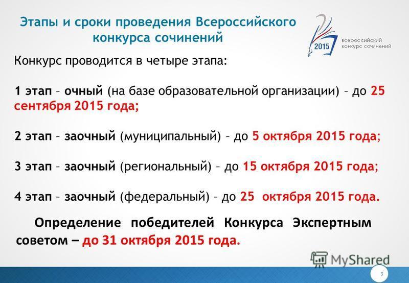 Этапы и сроки проведения Всероссийского конкурса сочинений 3 Конкурс проводится в четыре этапа: 1 этап – очный (на базе образовательной организации) – до 25 сентября 2015 года; 2 этап – заочный (муниципальный) – до 5 октября 2015 года; 3 этап – заочн