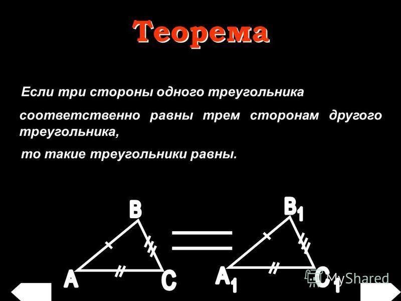 Если три стороны одного треугольника соответственно равны трем сторонам другого треугольника, то такие треугольники равны. Теорема Теорема