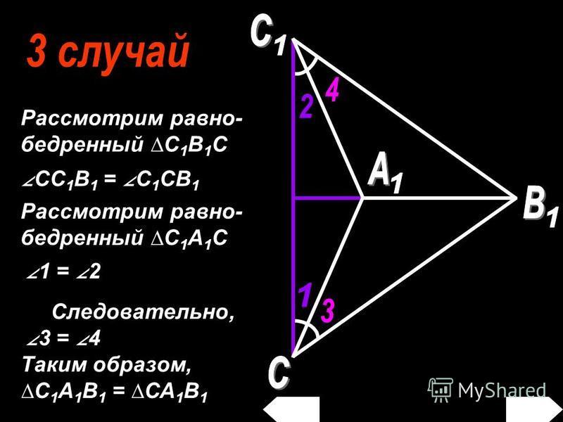 Рассмотрим равно- бедренный С 1 В 1 С CC 1 B 1 = C 1 CB 1 1 = 2 Рассмотрим равно- бедренный С 1 А 1 С Следовательно, 3 = 4 Таким образом, С 1 А 1 В 1 = СА 1 В 1