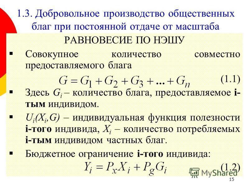 15 РАВНОВЕСИЕ ПО НЭШУ Совокупное количество совместно предоставляемого блага (1.1) Здесь G i – количество блага, предоставляемое i- тым индивидом. U i (X i,G) – индивидуальная функция полезности i-того индивида, X i – количество потребляемых i-тым ин