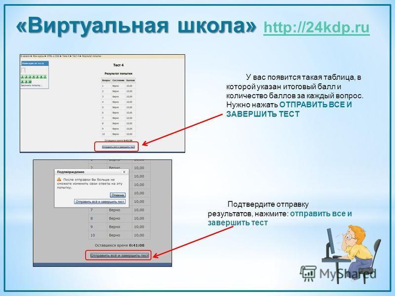 У вас появится такая таблица, в которой указан итоговый балл и количество баллов за каждый вопрос. Нужно нажать ОТПРАВИТЬ ВСЕ И ЗАВЕРШИТЬ ТЕСТ «Виртуальная школа» «Виртуальная школа» http://24kdp.ru http://24kdp.ru Подтвердите отправку результатов, н
