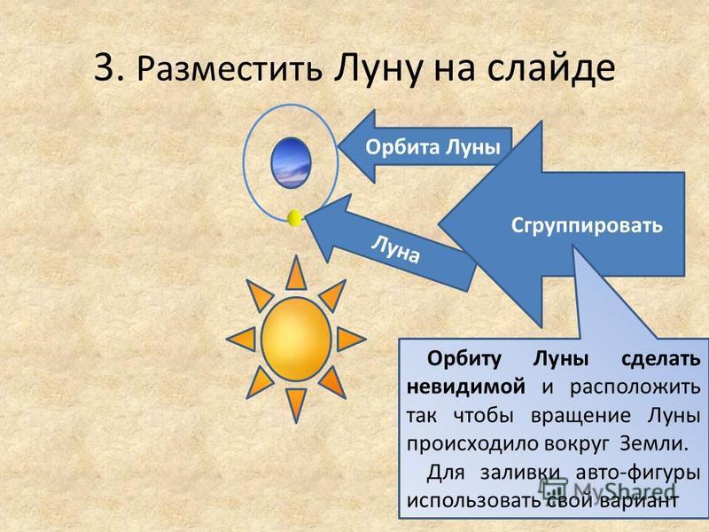 3. Разместить Луну на слайде Орбита Луны Луна Сгруппировать Орбиту Луны сделать невидимой и расположить так чтобы вращение Луны происходило вокруг Земли. Для заливки авто-фигуры использовать свой вариант