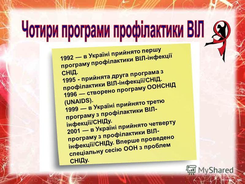 1992 в Україні прийнято першу програму профілактики ВІЛ-інфекції СНІД. 1995 - прийнята друга програма з профілактики ВІЛ-інфекції/СНІД. 1996 створено програму ООНСНІД (UNAIDS). 1999 в Україні прийнято третю програму з профілактики ВІЛ- інфекції/СНІДу