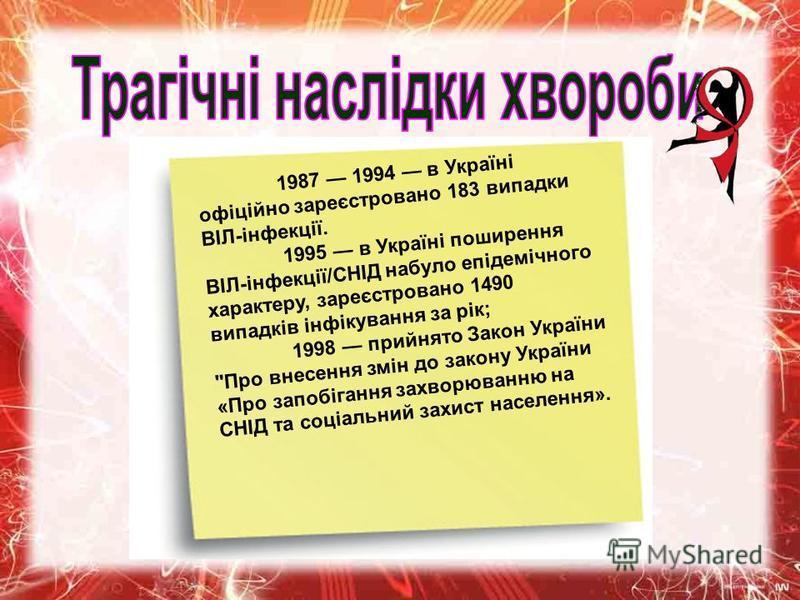 1987 1994 в Україні офіційно зареєстровано 183 випадки ВІЛ-інфекції. 1995 в Україні поширення ВІЛ-інфекції/СНІД набуло епідемічного характеру, зареєстровано 1490 випадків інфікування за рік; 1998 прийнято Закон України