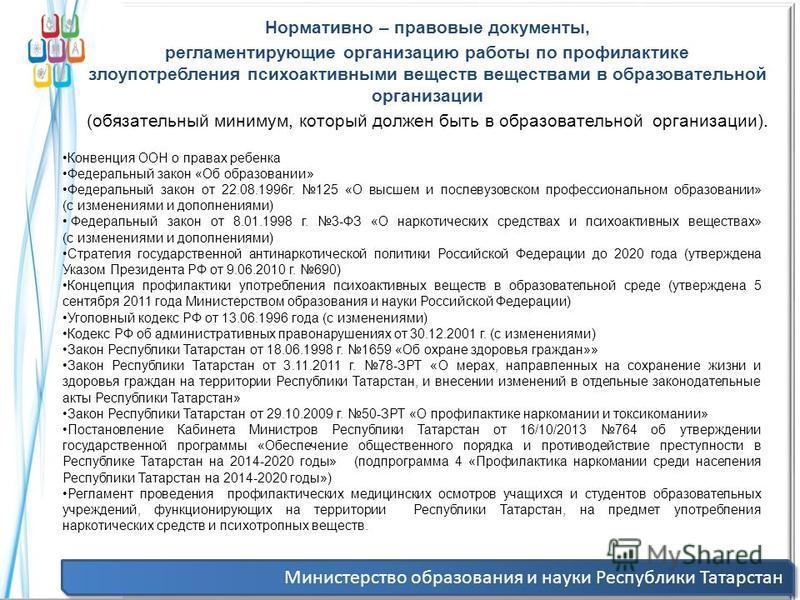 Министерство образования и науки Республики Татарстан Нормативно – правовые документы, регламентирующие организацию работы по профилактике злоупотребления психоактивными веществ веществами в образовательной организации (обязательный минимум, который