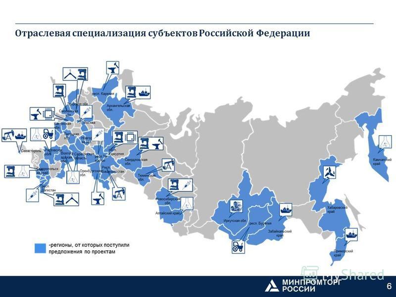 Отраслевая специализация субъектов Российской Федерации 6