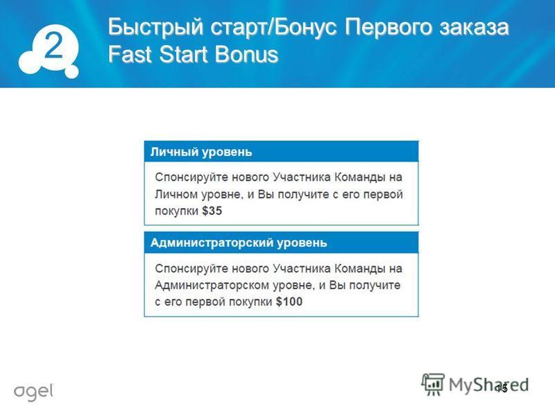 Быстрый старт/Бонус Первого заказа Fast Start Bonus 2 15