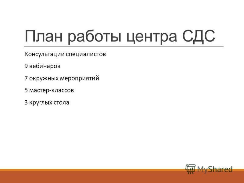 План работы центра СДС Консультации специалистов 9 вебинаров 7 окружных мероприятий 5 мастер-классов 3 круглых стола