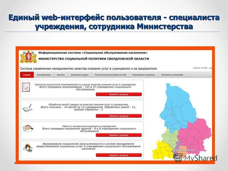 Единый web-интерфейс пользователя - специалиста учреждения, сотрудника Министерства