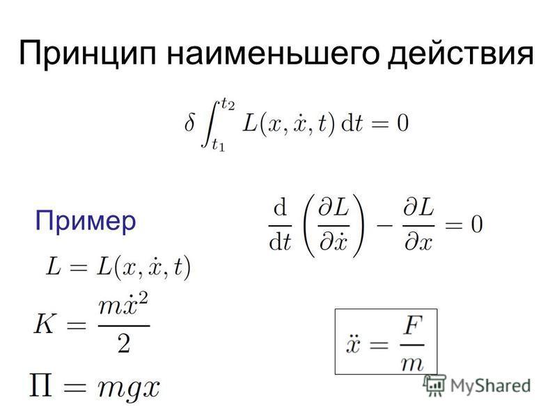 Принцип наименьшего действия Пример