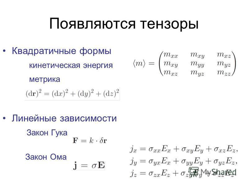 Появляются тензоры Квадратичные формы кинетическая энергия метрика Линейные зависимости Закон Гука Закон Ома