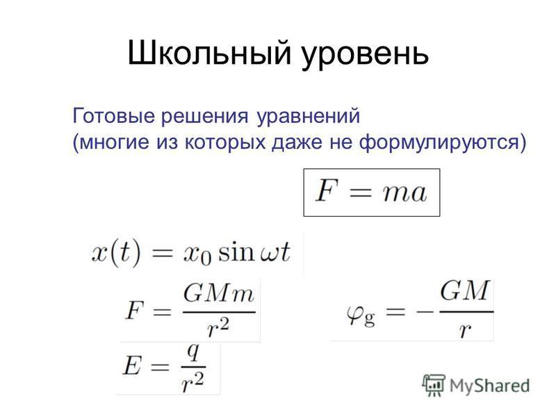 Школьный уровень Готовые решения уравнений (многие из которых даже не формулируются)