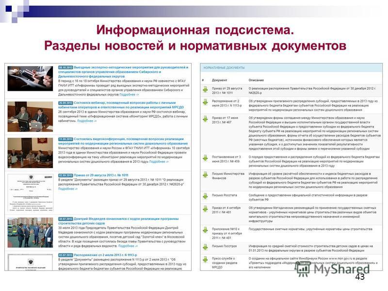 43 Информационная подсистема. Разделы новостей и нормативных документов
