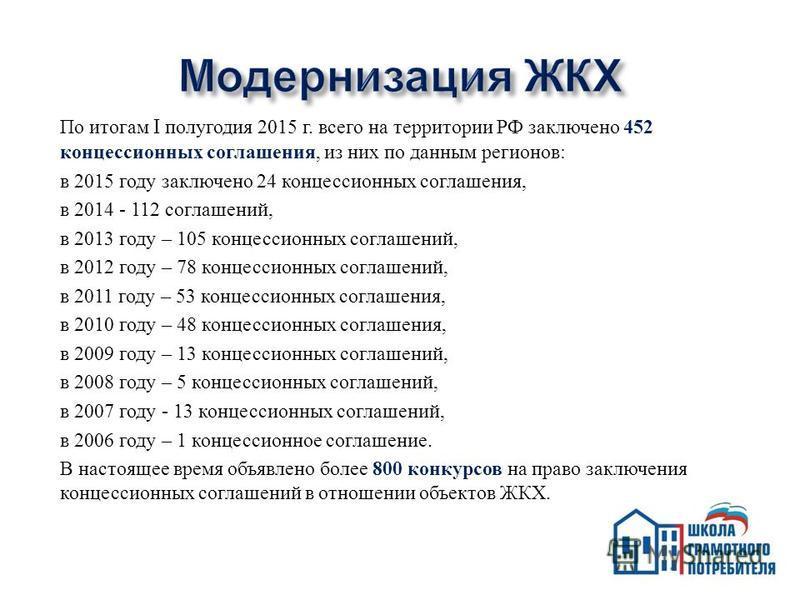 По итогам I полугодия 2015 г. всего на территории РФ заключено 452 концессионных соглашения, из них по данным регионов : в 2015 году заключено 24 концессионных соглашения, в 2014 - 112 соглашений, в 2013 году – 105 концессионных соглашений, в 2012 го