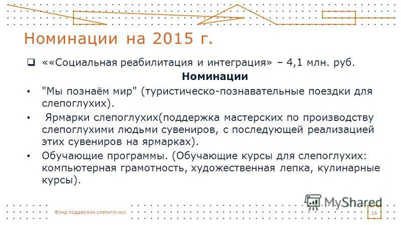 Фонд поддержки слепоглухих ««Социальная реабилитация и интеграция» – 4,1 млн. руб. Номинации