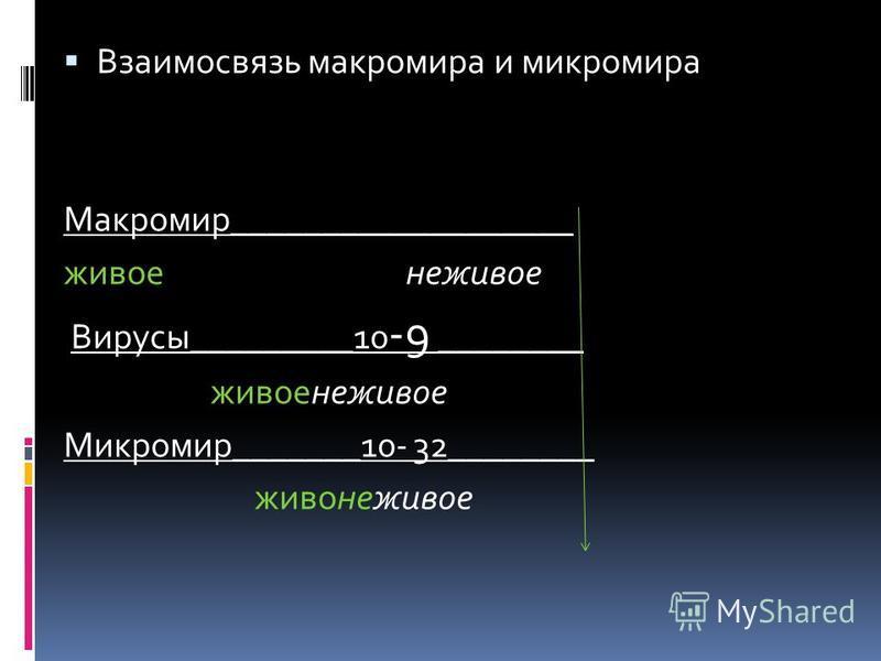 Взаимосвязь макромира и микромира Макромир___________________ живое неживое Вирусы_________10 -9 ________ живое неживое Микромир_______10- 32________ живонеживое
