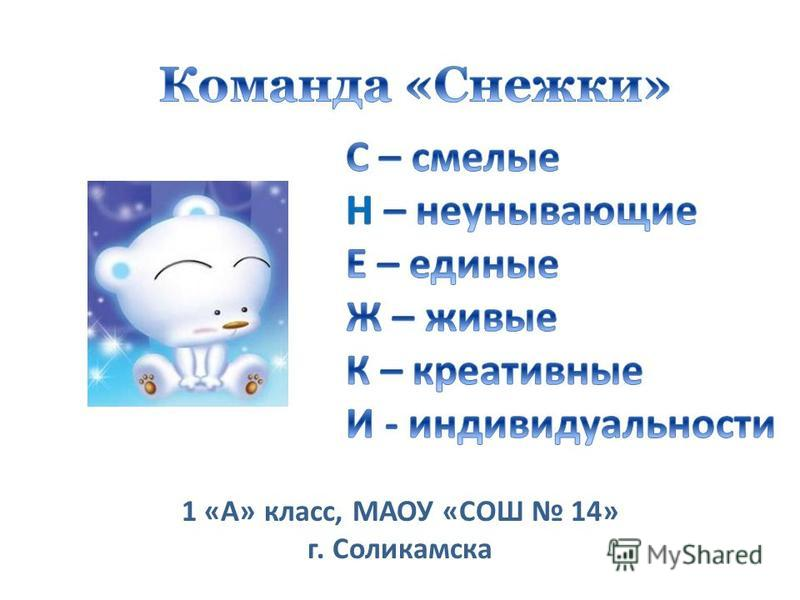 1 «А» класс, МАОУ «СОШ 14» г. Соликамска