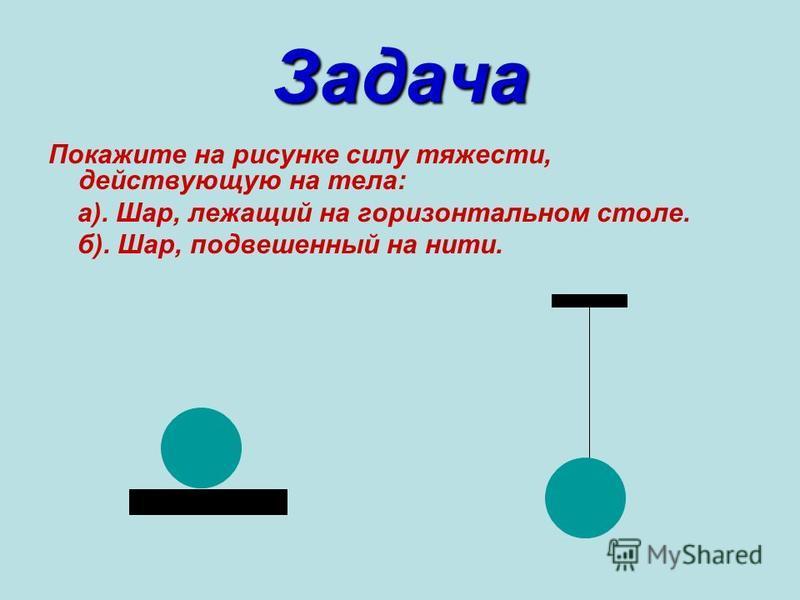 Задача Покажите на рисунке силу тяжести, действующую на тела: а). Шар, лежащий на горизонтальном столе. б). Шар, подвешенный на нити.