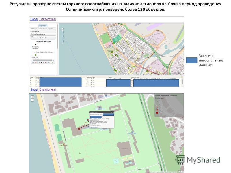 Результаты проверки систем горячего водоснабжения на наличие легионелл в г. Сочи в период проведения Олимпийских игр: проверено более 120 объектов. Закрыты персональные данные