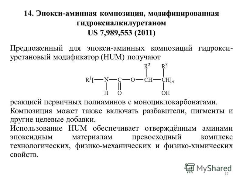 14. Эпокси-аминная композиция, модифицированная гидроксиалкилуретаном US 7,989,553 (2011) Предложенный для эпокси-аминных композиций гидрокси- уретановый модификатор (HUM) получают реакцией первичных полиаминов с моноциклокарбонатами. Композиция може