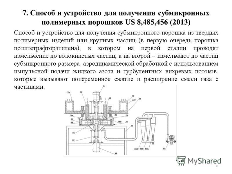 7. Способ и устройство для получения субмикронных полимерных порошков US 8,485,456 (2013) Способ и устройство для получения субмикронного порошка из твердых полимерных изделий или крупных частиц (в первую очередь порошка политетрафторэтилена), в кото
