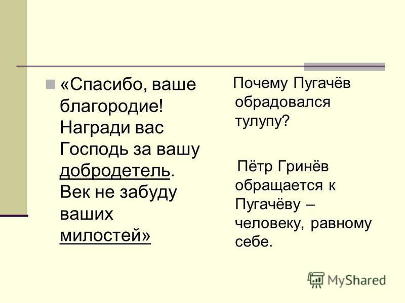 «Спасибо, ваше благородие! Награди вас Господь за вашу добродетель. Век не забуду ваших милостей» Почему Пугачёв обрадовался тулупу? Пётр Гринёв обращается к Пугачёву – человеку, равному себе.