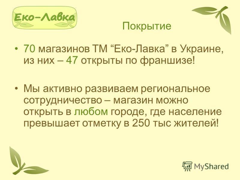 Покрытие 70 магазинов ТМ Еко-Лавка в Украине, из них – 47 открыты по франшизе! Мы активно развиваем региональное сотрудничество – магазин можно открыть в любом городе, где население превышает отметку в 250 тыс жителей!