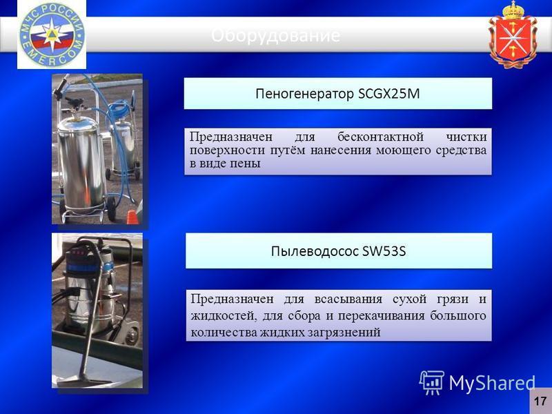 Оборудование Пеногенератор SCGX25M Пылеводосос SW53S Предназначен для бесконтактной чистки поверхности путём нанесения моющего средства в виде пены Предназначен для всасывания сухой грязи и жидкостей, для сбора и перекачивания большого количества жид