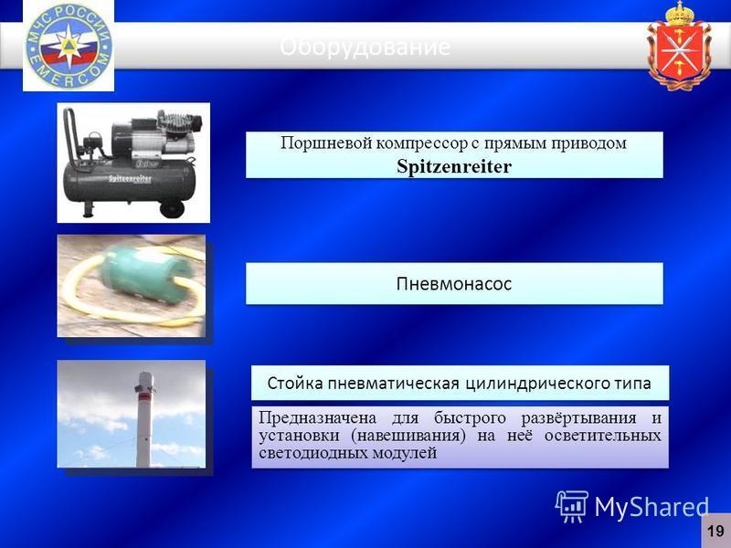 Оборудование Поршневой компрессор с прямым приводом Spitzenreiter Пневмонасос Стойка пневматическая цилиндрического типа Предназначена для быстрого развёртывания и установки (навешивания) на неё осветительных светодиодных модулей 19