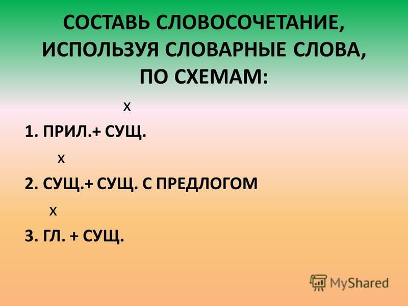СОСТАВЬ СЛОВОСОЧЕТАНИЕ, ИСПОЛЬЗУЯ СЛОВАРНЫЕ СЛОВА, ПО СХЕМАМ: x 1. ПРИЛ.+ СУЩ. x 2. СУЩ.+ СУЩ. С ПРЕДЛОГОМ x 3. ГЛ. + СУЩ.