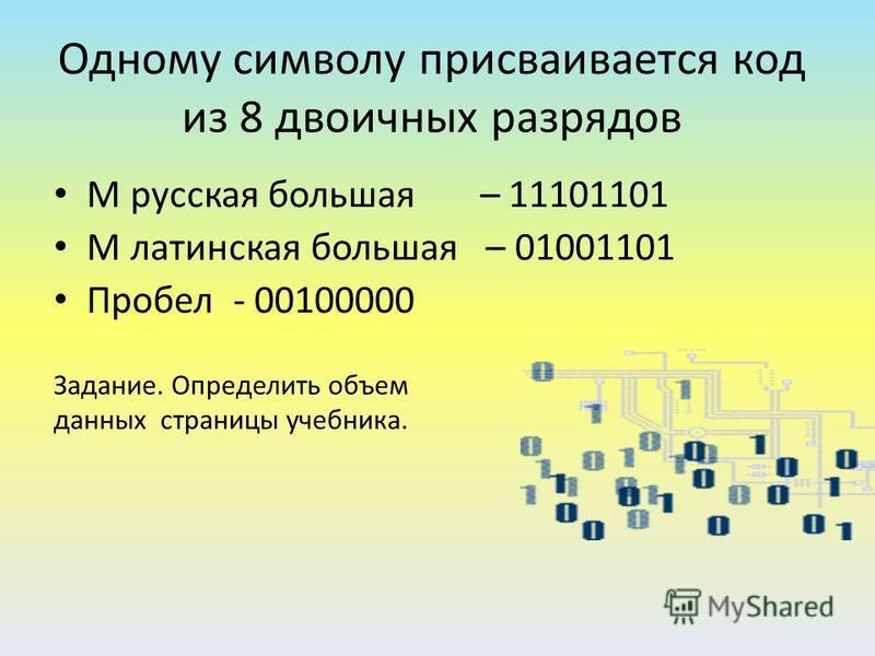 Слово «МИР» кодируется последовательностью из 24 бит: 111011011110100111110010 Задание: Закодируйте с помощью кодовой таблицы свое собственное имя Последовательность из восьми бит называют байт 1 байт =8 бит Каждый символ кодируется двоичным кодом дл