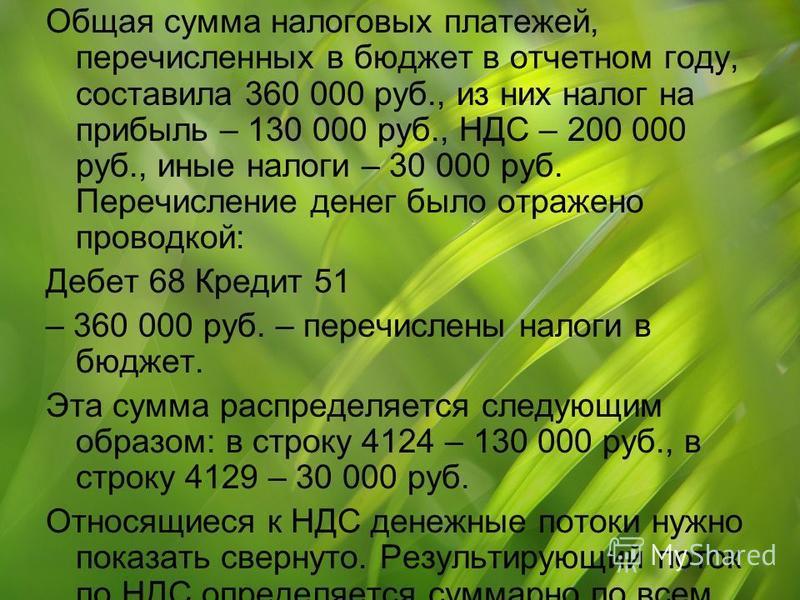Общая сумма налоговых платежей, перечисленных в бюджет в отчетном году, составила 360 000 руб., из них налог на прибыль – 130 000 руб., НДС – 200 000 руб., иные налоги – 30 000 руб. Перечисление денег было отражено проводкой: Дебет 68 Кредит 51 – 360