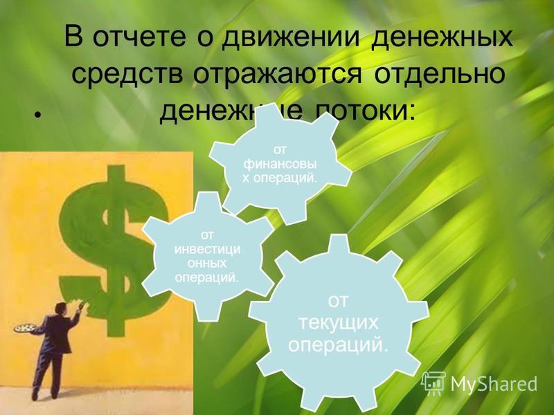 В отчете о движении денежных средств отражаются отдельно денежные потоки: от текущих операций. от инвестиционных операций. от финансовых операций.