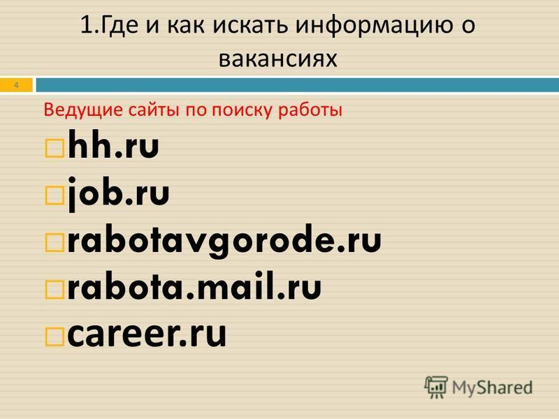 4 Ведущие сайты по поиску работы hh.ru job.ru rabotavgorode.ru rabota.mail.ru career.ru 1. Где и как искать информацию о вакансиях