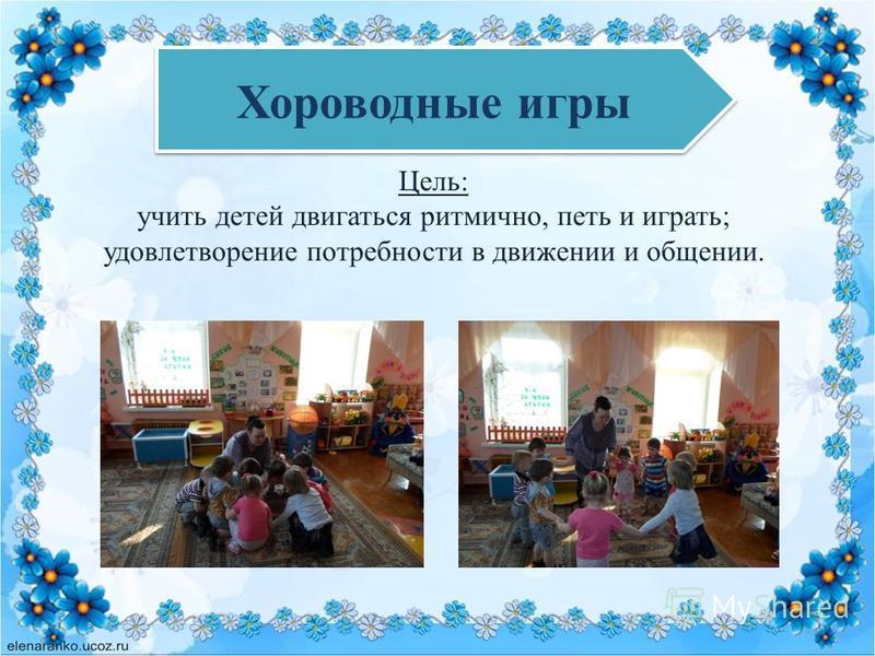 Хороводные игры Цель: учить детей двигаться ритмично, петь и играть; удовлетворение потребности в движении и общении.