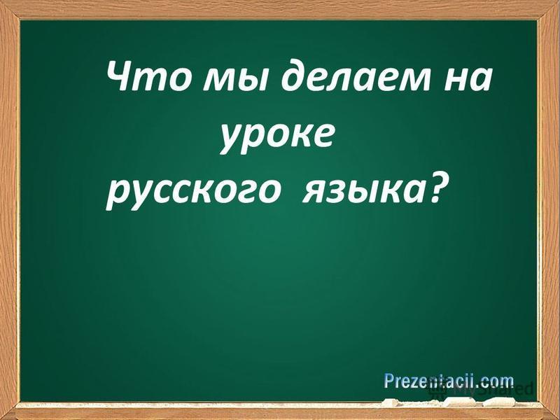 Что мы делаем на уроке русского языка?