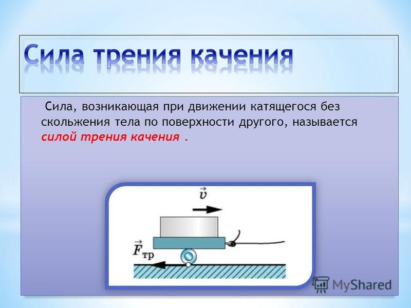 Сила, возникающая при движении катящегося без скольжения тела по поверхности другого, называется силой трения качения.
