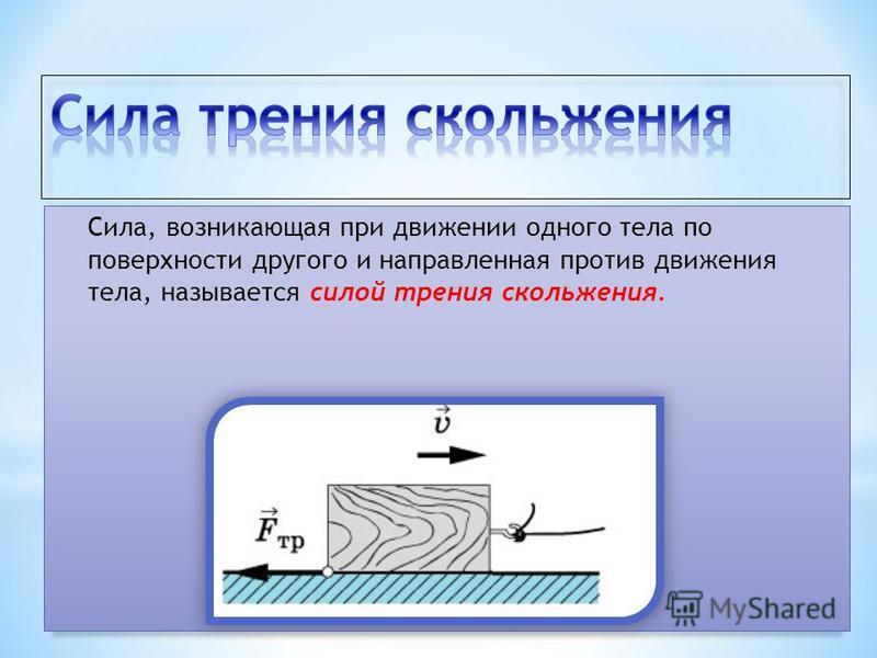 Сила, возникающая при движении одного тела по поверхности другого и направленная против движения тела, называется силой трения скольжения.